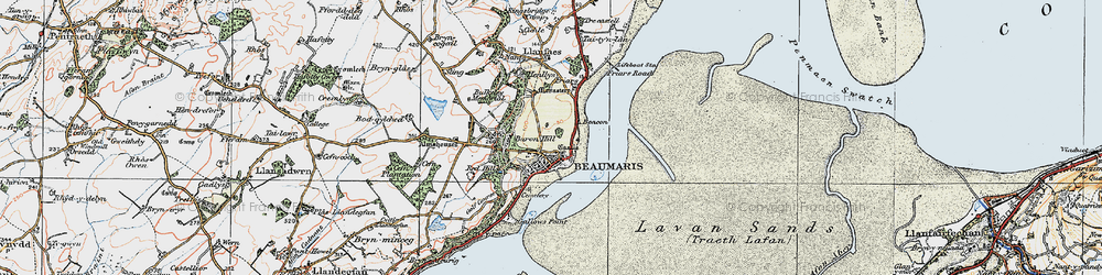 Old map of Beaumaris in 1922