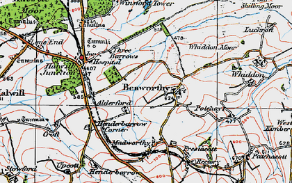 Old map of Alderford in 1919