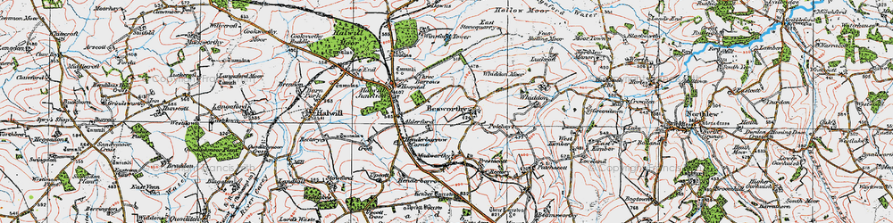 Old map of Whiddon Moor in 1919