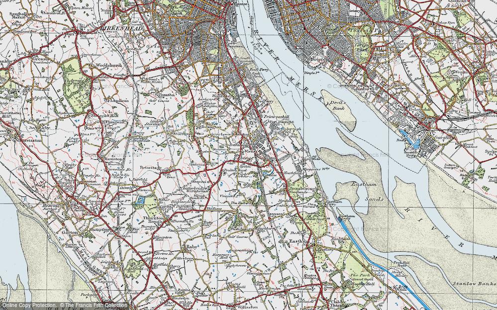 Old Map of Bebington, 1924 in 1924
