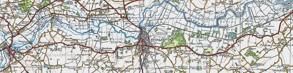 Old map of Beccles in 1921