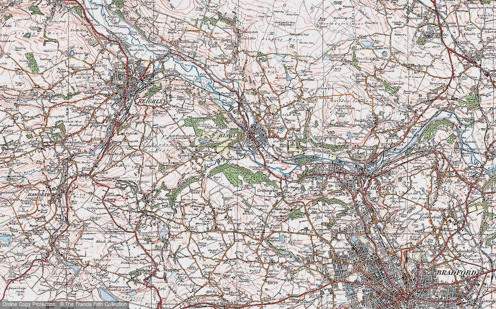 Old Map of Historic Map covering Wood Bank in 1925