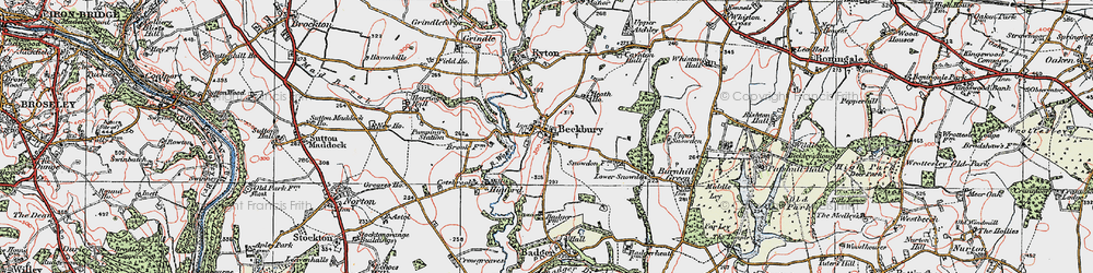 Old map of Beckbury in 1921