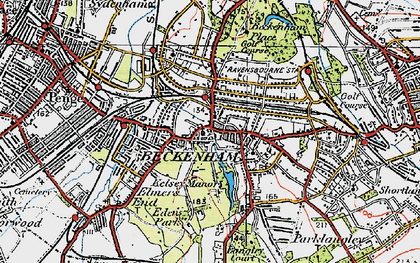 Old map of Beckenham in 1920