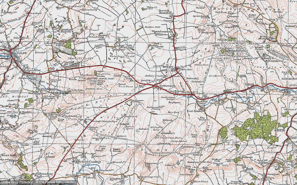 Old Map of Historic Map covering Allington Down in 1919