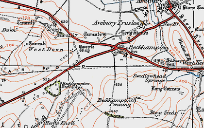 Old map of Beckhampton in 1919