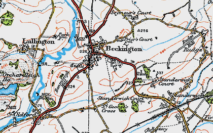 Old map of Beckington in 1919