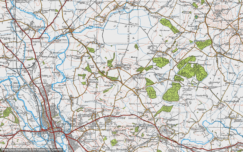 Old Map of Historic Map covering Woodperry in 1919