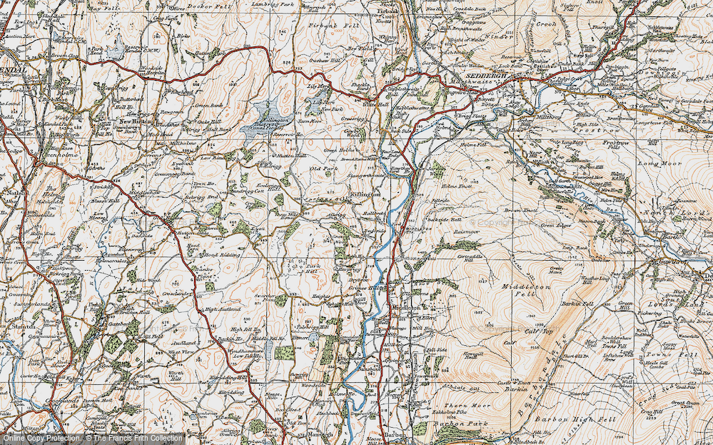 Old Map of Historic Map covering Aikrigg in 1925