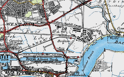 Old map of Beckton in 1920
