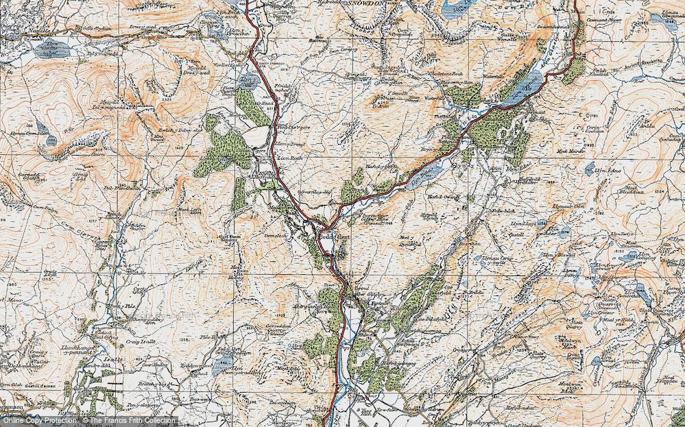 Old Map of Beddgelert, 1922 in 1922