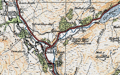 Old map of Beddgelert in 1922