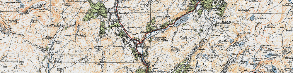 Old map of Beddgelert in 1922