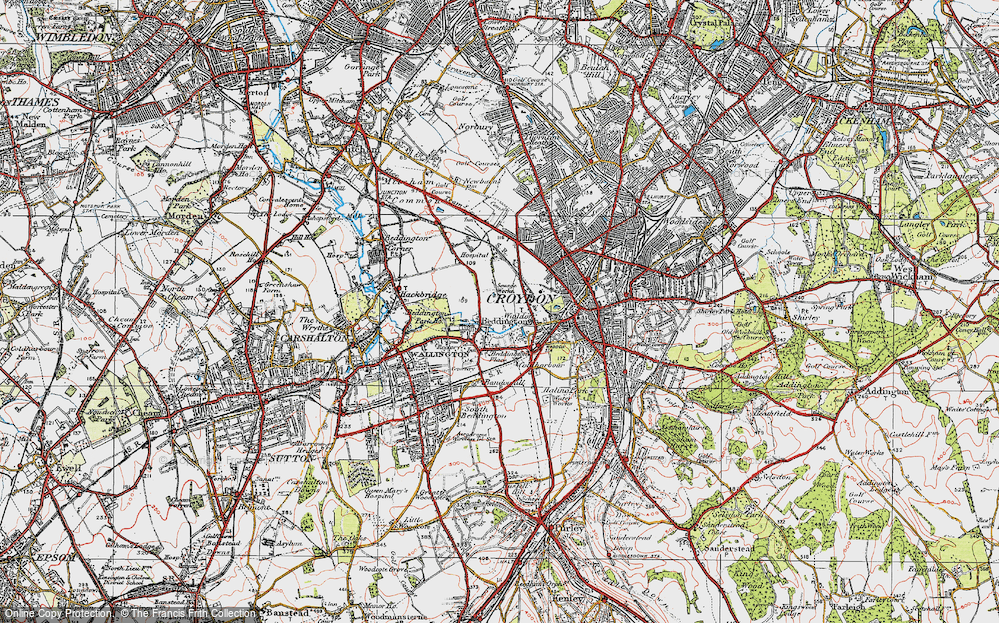 Old Map of Beddington, 1920 in 1920