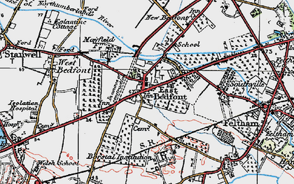 Old map of Bedfont in 1920