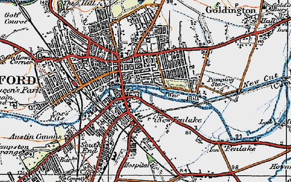Old map of Bedford in 1919