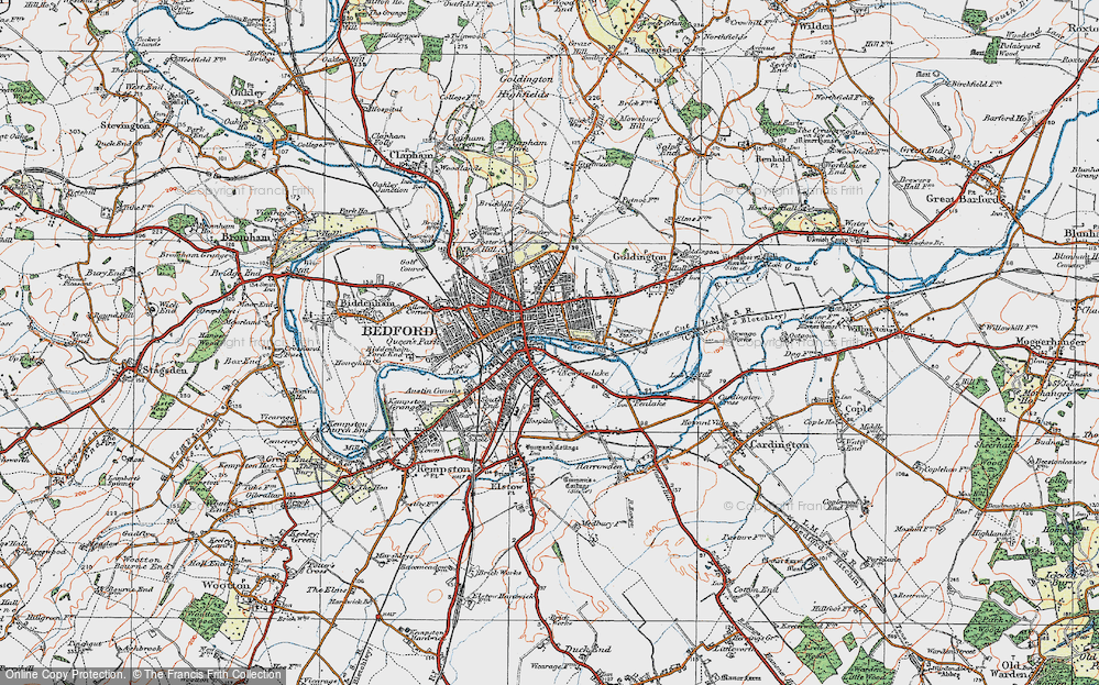 Map of Bedford 1919 Francis Frith