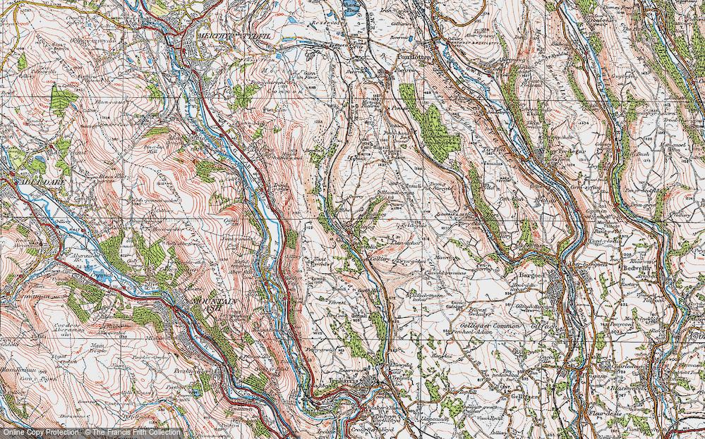 Old Map of Bedlinog, 1919 in 1919