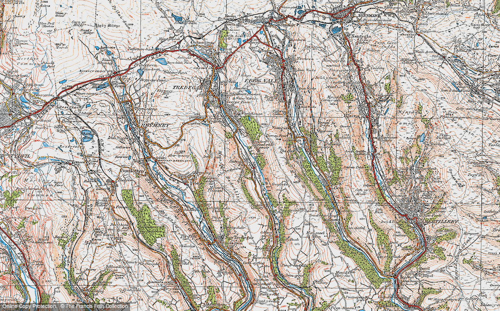 Old Map of Bedwellty Pits, 1919 in 1919