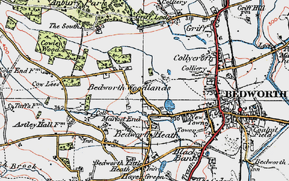 Old map of Bedworth Woodlands in 1920