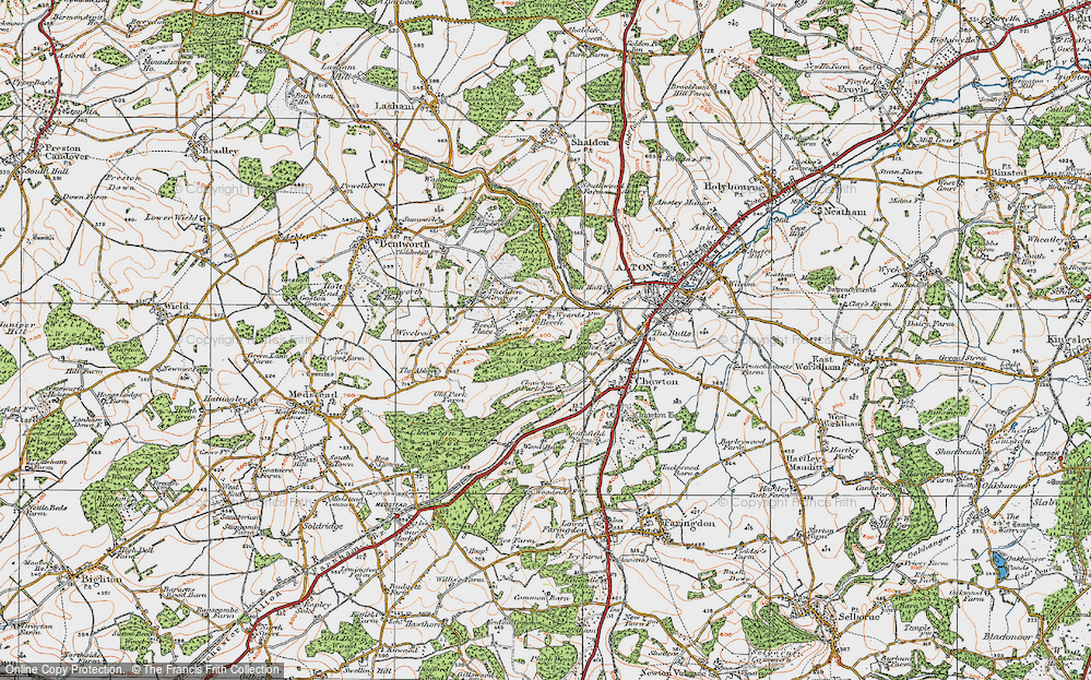 Old Map of Historic Map covering Ackender Wood in 1919