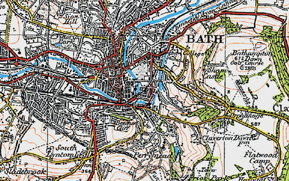 Old map of Beechen Cliff in 1919