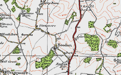 Old map of Beedon in 1919