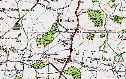 Old map of Beedon Hill in 1919