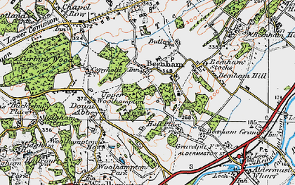 Old map of Beenham in 1919