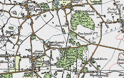 Old map of Beenham's Heath in 1919