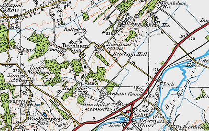Old map of Beenham Stocks in 1919