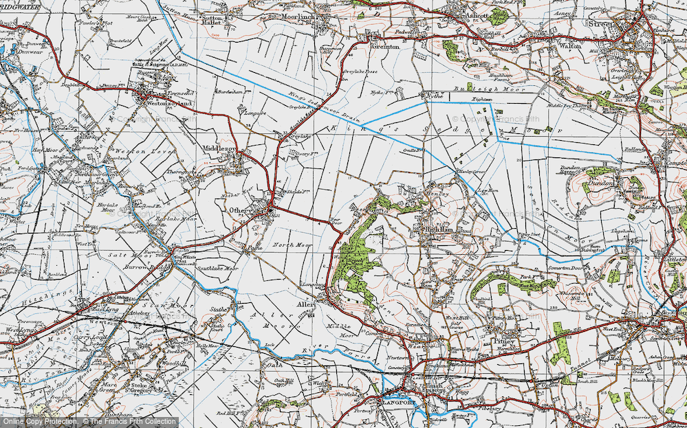 Old Map of Historic Map covering Langacre Rhyne in 1919