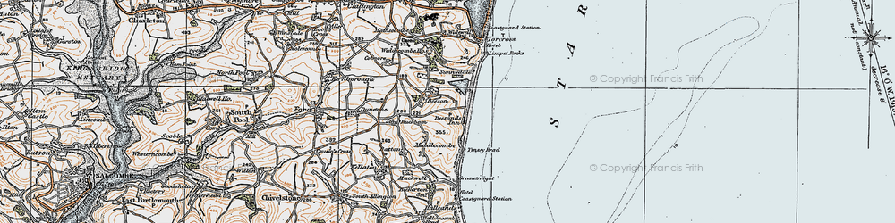 Old map of Widdicombe Ho in 1919