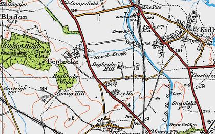Old map of Begbroke in 1919