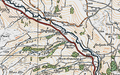 Old map of Beguildy in 1920