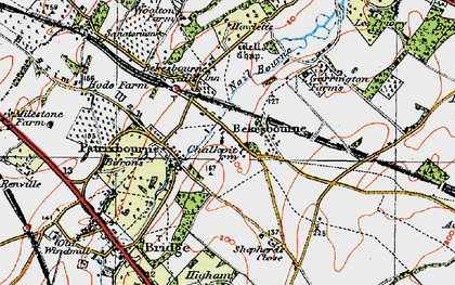 Old map of Bekesbourne in 1920