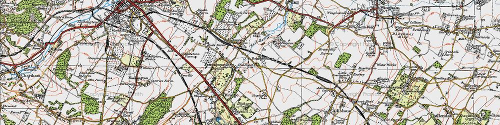 Old map of Bekesbourne in 1920