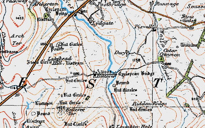 Old map of Laughter Tor in 1919