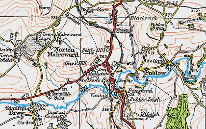 Old map of Belluton in 1919