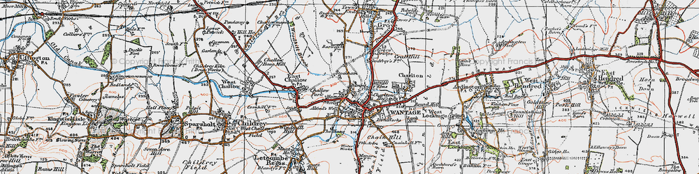 Old map of Woodhill Brook in 1919