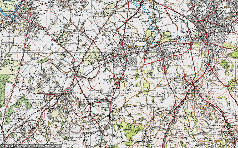 Old Map of Historic Map covering Banstead Downs in 1920