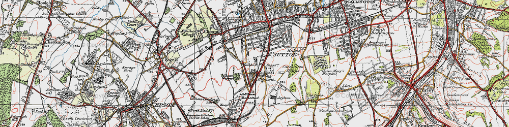 Old map of Belmont in 1920