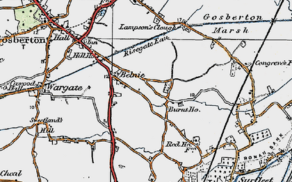 Old map of Belnie in 1922