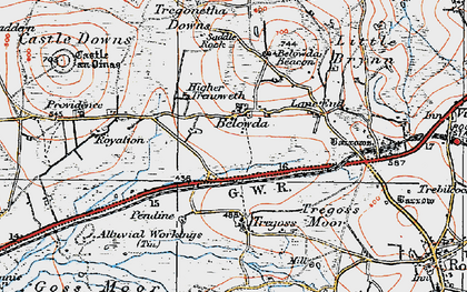 Old map of Belowda in 1919