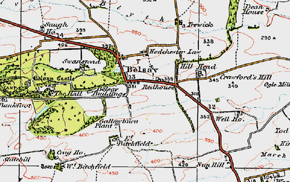 Old map of Belsay in 1925