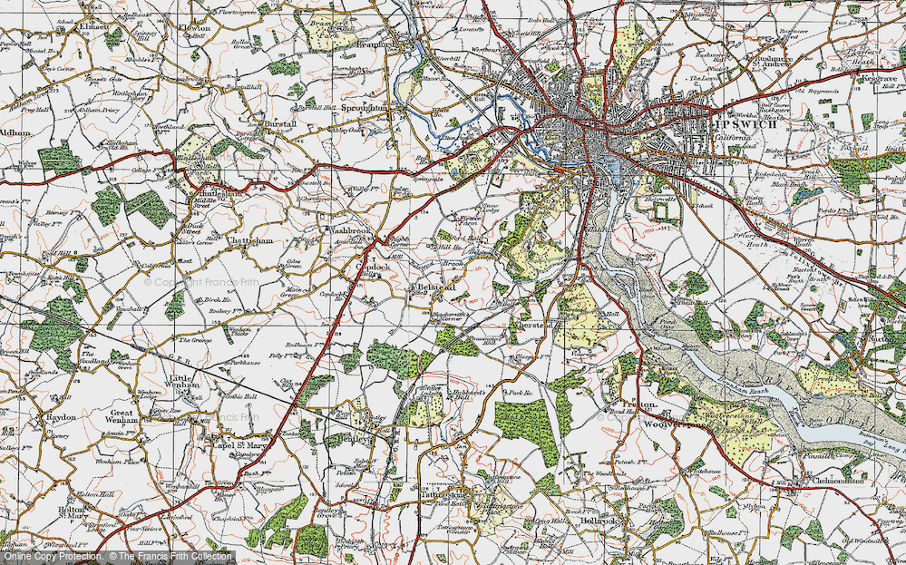 Old Map of Belstead, 1921 in 1921