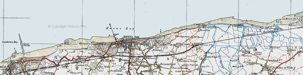 Old map of Beltinge in 1920