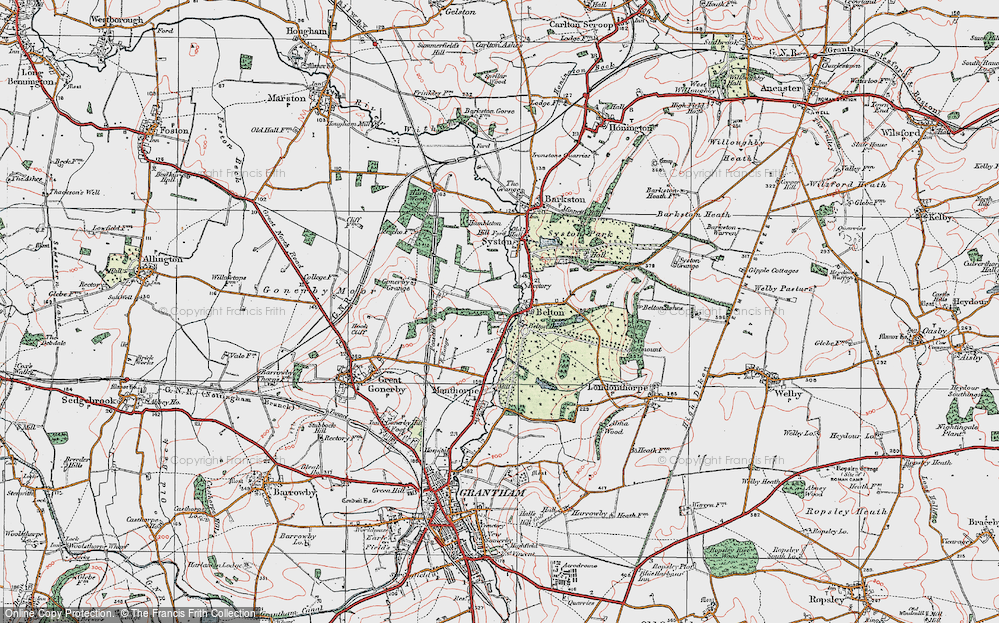 Old Map of Belton, 1922 in 1922