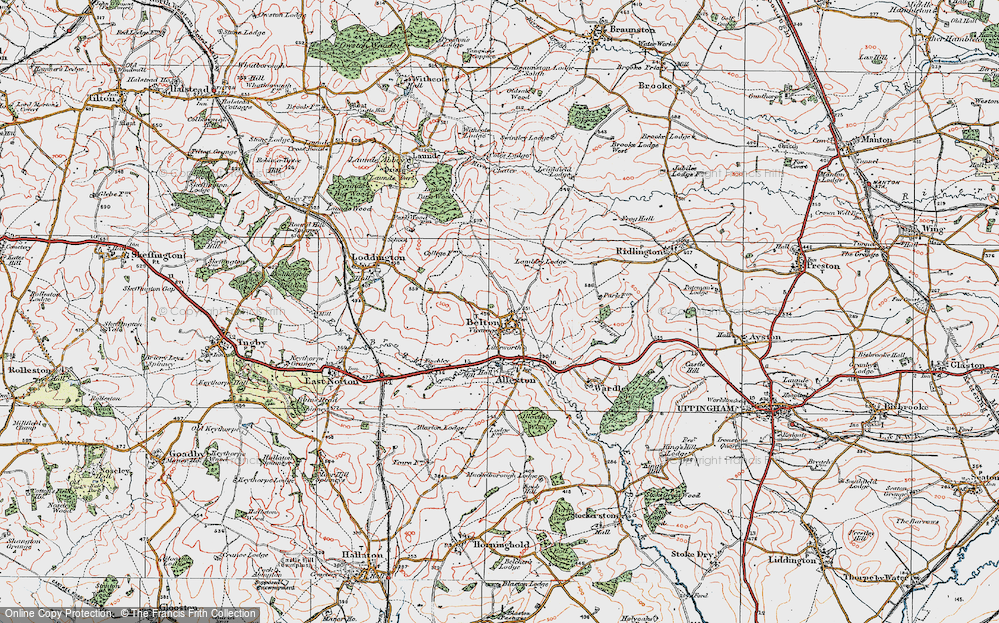 Old Map of Historic Map covering Launde Park Wood in 1921