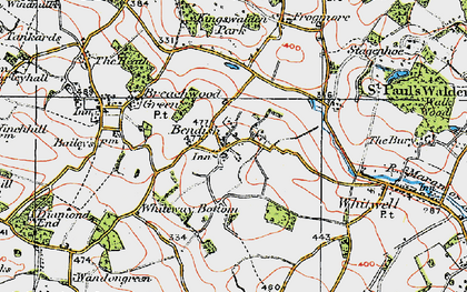 Old map of Bendish in 1920